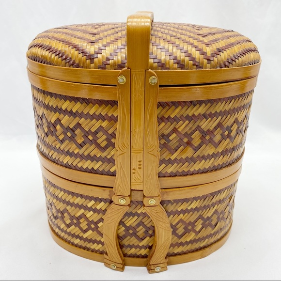 SOLD Vtg Asian Chinese 2 Tier Wedding Woven Basket